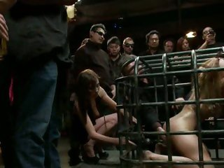 Prisoner Princess Donna sucks cock through her cage
