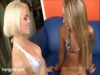 Hot, blonde lesbians Riley Jensen and Ash Hollywood licking pussy