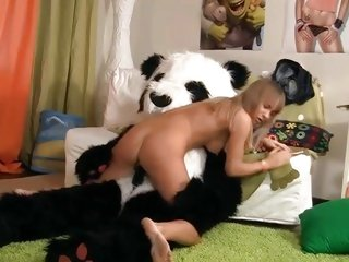 This perverted doxy slurps on this horny panda's prick
