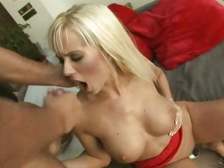 Delicious Cindy Dollar gets overspread in cock syrup