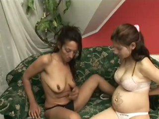 Hot Honey Loving Her Lesbian Lover's Pregnant Pussy