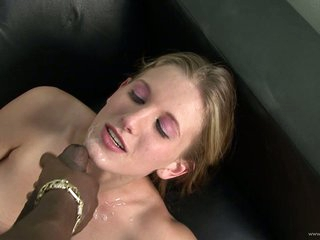 Saucy Ashley Fires receives her face splattered with spunk