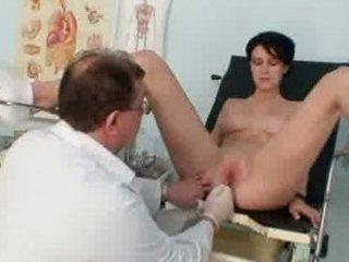 Busty playgirl Rita perverse gyno doctor exam