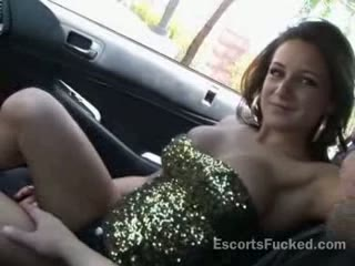Sexy escort public car oral-stimulation after picked up
