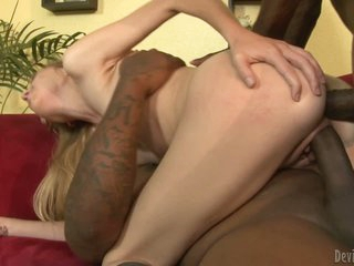 Pretty young blonde chick Emma Haize gets ass fucked by dark skinned guy before she takes another black dick in her bald pussy. They double bang petite blonde Emma Haize like crazy.