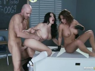 Johnny Sins' nice rock stiff cock is for two big boobed sluts Madison Ivy and Rebeca Linares. They blow him like crazy before he gives their wet snatches a try. They have a fun his boner in their wet holes.