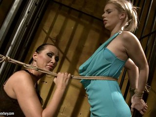 Mandy Bright tie a rope to white blonde in hawt dress