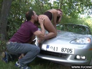 A Lucky Stranger shagging unfathomable on car bonnet