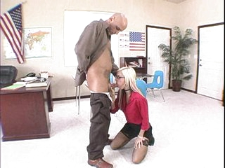 Blonde hottie Christine Alexis gets her mouth fucked by some monster meat