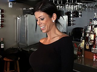 Barmaid with biggest round tits!
