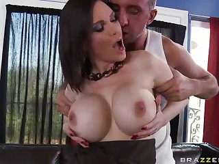 Keiran Lee admires large perfect boobs of black haired milf Diamond Foxxx before she deepthroats his cock and takes it from behind. Busty Keiran Lee spreads her buttocks and gets her wet hole stuffed.