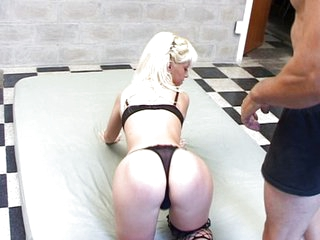 Blonde gangbang action on checkered floor