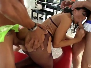 Big boobies lewd brunette doxy ricki white enjoying hot gang fuck