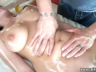 Big titty Natasha Nice acquires humped after massage
