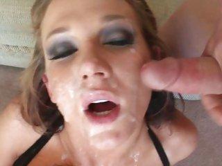Nikki Sexxx gets her face blasted with hot jizz