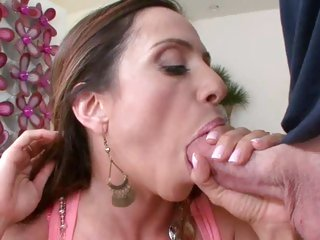 Sensual Ariella Ferrera stuffs her mouth with hard cock