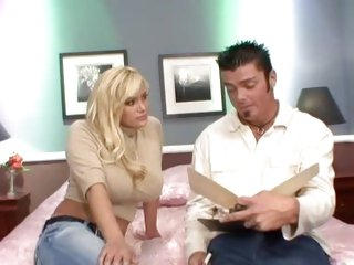 Busty blonde Shyla Stylez gets a saucy stuffing