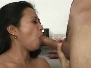 Lucky Starr shoves a stiff cock down her throat