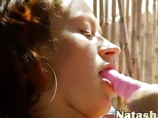 Russian beauty Natasha with pink dildo