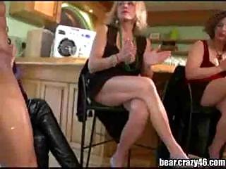 Horny girls sucks stripper cock