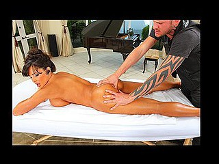 Lisa Ann lastly has a day off but that babe is constantly being pestered with phonecalls. This Babe is very annoyed with the masseuse coz this chab isn't putting sufficiently effort into it. To fight back Scott puts his finger up Lisa's constricted anus. Caught off guard, Lisa laughs and tells Scott this guy could not at any time handle her booty.