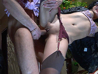 Sexy spy gets her gartered nylons worshipped and fucked by a nylon freak