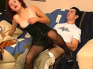 Kinky neighbour enjoying watching a cutie slipping her hands into hose