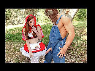 Little Red Riding Whore wanders throughout the forest, meeting a pair of sexy forest allies along the way. They warn her of the dangerous large bad wolf lurking throughout the forest up ahead. That Babe has no fear and proceeds on her trek. The large bad wolf springs out from behind a tree in an attempt to scare her, but this babe is unfazed, until this guy shows her what a large dick this guy has.