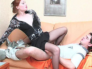 Lewd sweetheart in barely black hose expecting for her boyfriend and his fresh ramrod
