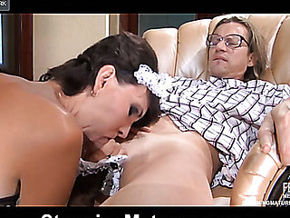 Sexy aged in slutty French maid uniform gets banged after oral foreplay