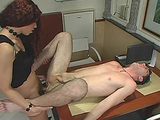 Nasty shemale craving to fuck the brains out of her coworker in the office