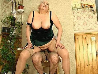 Horny guy slipping into mommy