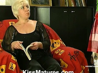 Gorgeous older gal putting aside her book and exploring girlish curvy body