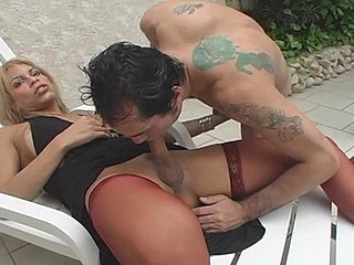 Blond shemale treating guy with her 10-Pounder after mind-blowing booty-screwing