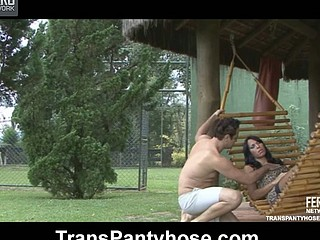 Clad in barely visibly tights ladyman jumps out of her hammock to fuck a guy