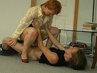 Sexy aged tutor and a lewd guy ending their lesson screwing on the floor