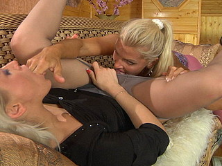 Nasty dyke in pink crotchless tights seduces her sexy underware consultant