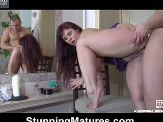 Plump aged gal makes passes at hung guy blowing his dick and taking it up