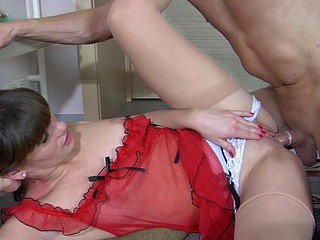Hawt chick in a red watch-thru nighty and barely visible nylons banged hard