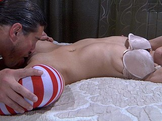 Sleepy cutie in candy-stick nylons gets woken up by a muff-diving oldie