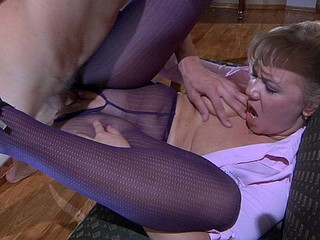 Nylon-avid golden-haired plays with her purple hose in advance of screwing in 'em