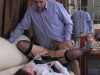 Hawt sweetheart taking her older co-worker to take a dong break with oral foreplay