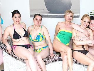 Lovely older women relaxing in a sauna