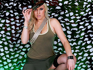 Irresistible blond in fishnets copulates like a pro
