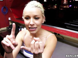 Blondie Boom is a young blonde model with long tied up hair tattoos nice boobs and perverted mind. She loves to show her naked body to almost anyone so she slowly starts undressing. When she is completely naked she gives this lucky guy a great handjob. Will he get some of her sweet cherry or not?