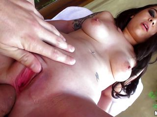 With her spread legs and her shaved pussy on display this hot piece of ass is getting her anus fucked deep. She rides her man like a whore, enjoying the feeling of anal penetration and after she got enough he lays her and continues fucking her ass hole, groping her tits and giving her all the cock she needs