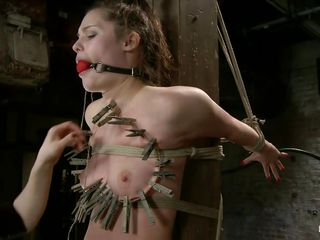 Sexy bitch Charlotte is looking for extreme sensations and stays tied up to a wooden pillar. With her mouth gagged, she just moans with pleasure when her tits are all covered with laundry pliers. Her master takes very good care of her cunt and pumps the shit out of it, then attaches a vibrator really close!