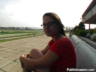 Clarissa was looking damn hot, sitting there on that bench wearing her red dress and those dorky glasses. The only problem with her is her teeth but that's ok, my hard cock will fill her mouth and we won't see them anymore. I think I want to cum on her teeth and lips, covering them with nice and good
