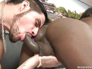 Watch this sexy ebony shemale, Isabella Sottani having a hardcore interracial intercourse with this sexy Caucasian guy. Watch how nicely she is playing with her big boobs, licking her juicy ass and then sucking her black cock. And after that, he lies down and gets a blowjob from that hot & horny tranny babe!