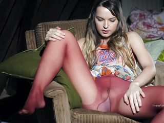 Ivana Fuckalot is in the attic, she wears a pair of sexy pantyhose and a nice skirt. Under that skirt this slut has a beautiful butt and a cunt that she loves to rub. But what do we have here? She just found a glass dildo and know is sucking it like a naughty girl and then puts it on her cunt under those pantyhose!